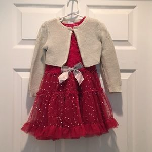 Girl's Betsey Johnson Red Holiday Dress w/ sweater